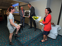 Rebecca Mahoney is presented with her framed international test match jersey at Solway Copthorne Hotel in Masterton, New Zealand on Thursday, 27 July 2017. Photo: Dave Lintott / lintottphoto.co.nz