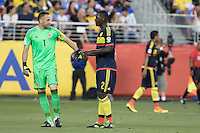 Santa Clara, CA - Friday June 3, 2016:  Colombia goalkeeper David Ospina has the captain's armband put on by teammate Cristian Zapata. USA played Colombia in the opening match of the Copa América Centenario game at Levi's Stadium.