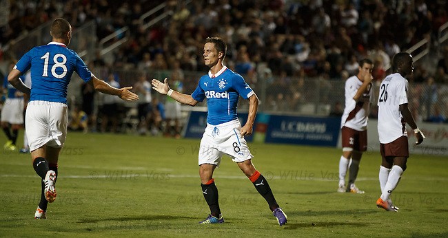 Ian Black celebrates his goal for Rangers with Kenny Miller