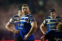 Henry Thomas of Bath Rugby looks on during a break in play. Premiership Rugby Cup match, between Bath Rugby and Gloucester Rugby on February 3, 2019 at the Recreation Ground in Bath, England. Photo by: Patrick Khachfe / Onside Images