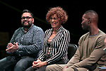 "Left to right, Nathan Singh, director of ""Wig Out!"" and 3rd year MFA Directing student in The Theatre School, Gloria ""Mama Gloria"" Allen, retired nurse and a trans-community activist in Chicago, and Tarell Alvin McCraney, playwright of ""Wig Out!"" and Oscar award winning playwright and screenwriter for ""Moonlight,"" talk with students, faculty and staff from the set of ""Wig Out!"" on the Fullerton Stage in The Theatre School building, Friday, April 21, 2017. (DePaul University/Jeff Carrion)"