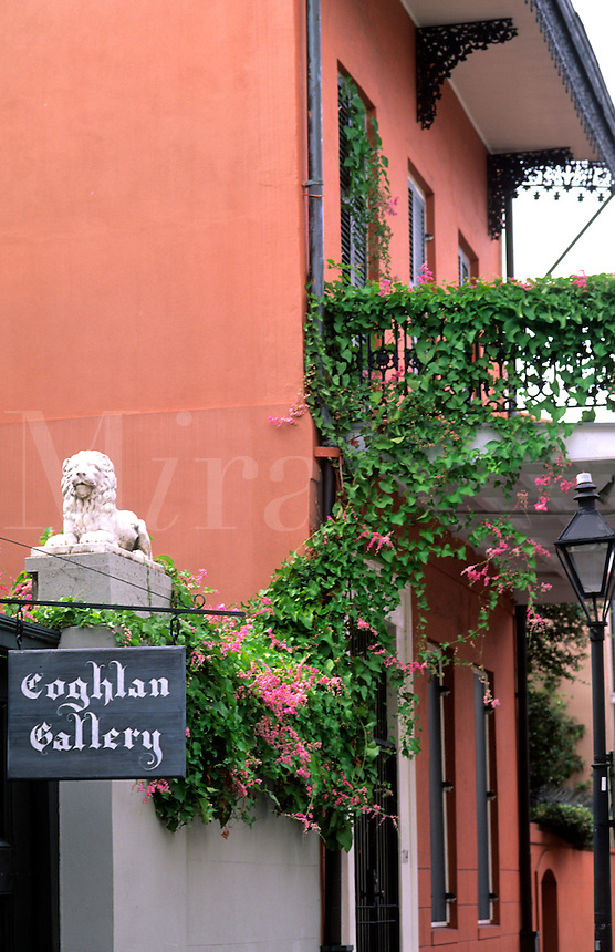 Art gallery in the French Quarter, city of New Orleans Louisiana NOLA USA