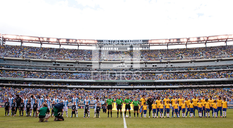 Argentina (ARG) and Brazil (BRA) line up for introductions. Argentina defeated Brazil 4-3 in an international friendly at MetLife Stadium in East Rutherford, NJ, on June 9, 2012.