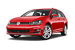 Stock pictures of low aggressive front three quarter view of a 2015 Volkswagen Golf Highline 5 Door Wagon 2WD Low Aggressive