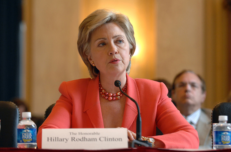 "Sen. Hillary Clinton, D-N.Y., testifies at a hearing on the ""Ballot Integrity Act,"" which provides new safeguards to prevent errors and tampering at the polls among other measures to ensure voting accuracy."