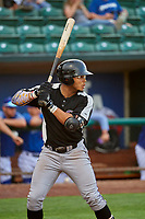 Todd Isaacs (1) of the Grand Junction Rockies at bat against the Ogden Raptors at Lindquist Field on July 23, 2019 in Ogden, Utah. The Raptors defeated the Rockies 11-4. (Stephen Smith/Four Seam Images)