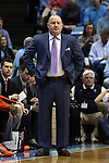 18 January 2015: Virginia Tech head coach Buzz Williams. The University of North Carolina Tar Heels played the Virginia Tech University Hokies in an NCAA Division I Men's basketball game at the Dean E. Smith Center in Chapel Hill, North Carolina. UNC won the game 68-53.