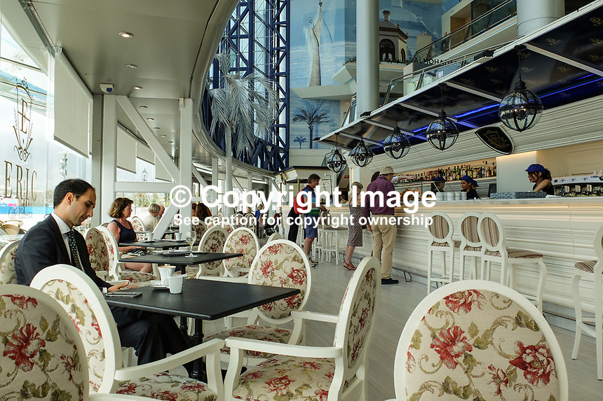First floor bar &amp; coffee shop, El Corte Ingles, Puerto Banus. April 2017<br /> <br /> Copyright Image from Victor Patterson, 54 Dorchester Park, <br /> Belfast, UK, BT9 6RJ<br /> <br /> t1: +44 28 9066 1296 (from Rep of Ireland 048 9066 1296)<br /> t2: +44 28 9002 2446 (from Rep of Ireland 048 9002 2446)<br /> m: +44 7802 353836<br /> <br /> e1: victorpatterson@me.com<br /> e2: victorpatterson@gmail.com<br /> <br /> www.victorpatterson.com<br /> <br /> Please see my Terms and Conditions of Use at www.victorpatterson.com. It is IMPORTANT that you familiarise yourself with them.<br /> <br /> Images used on the Internet must be visibly watermarked i.e. &copy; Victor Patterson within the body of the image and copyright metadata must not be deleted. Images used on the Internet have a size restriction of 4kbs and will be chargeable at current NUJ rates unless agreed otherwise.<br /> <br /> This image is only available for the use of the download recipient i.e. television station, newspaper, magazine, book publisher, etc, and must not be passed on to any third party. It is also downloaded on condition that each and every usage is notified within 7 days to victorpatterson@me.com<br /> <br /> The right of Victor Patterson to be identified as the author is asserted in accordance with The Copyright Designs And Patents Act (1988).