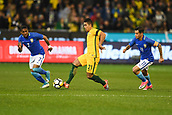 June 13th 2017, Melbourne Cricket Ground, Melbourne, Australia; International Football Friendly; Brazil versus Australia; Massimo Luongo of Australia keeps possession of the ball whilst pressured by Brazilian players Coutinho and Douglas Costa