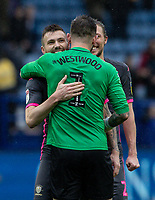 Leeds United's Stuart Dallas embraces Sheffield Wednesday's goalkeeper Keiren Westwood at the end of the match<br /> <br /> Photographer Andrew Kearns/CameraSport<br /> <br /> The EFL Sky Bet Championship - Sheffield Wednesday v Leeds United - Saturday 26th October 2019 - Hillsborough - Sheffield<br /> <br /> World Copyright © 2019 CameraSport. All rights reserved. 43 Linden Ave. Countesthorpe. Leicester. England. LE8 5PG - Tel: +44 (0) 116 277 4147 - admin@camerasport.com - www.camerasport.com