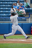 Chris Jacobs (33) of the Winston-Salem Dash follows through on his swing against the Salem Red Sox at LewisGale Field at Salem Memorial Ballpark on May 14, 2015 in Salem, Virginia.  The Red Sox defeated the Dash 1-0.  (Brian Westerholt/Four Seam Images)
