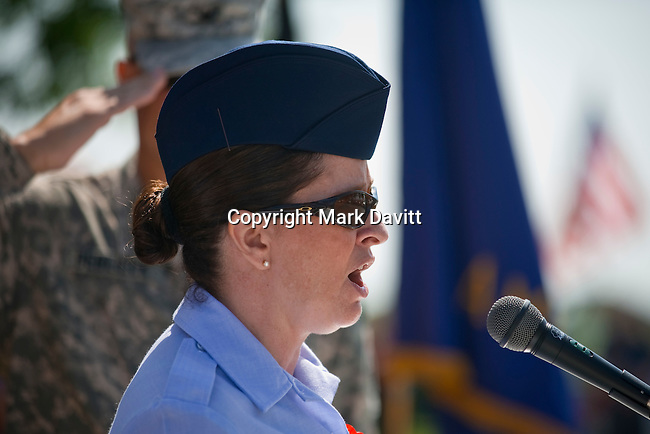 Rebecca Starmer of Des Moines, a first sergeant with the 132nd Fighter Wing, performed the national anthem during the Memorial Day service May 28.