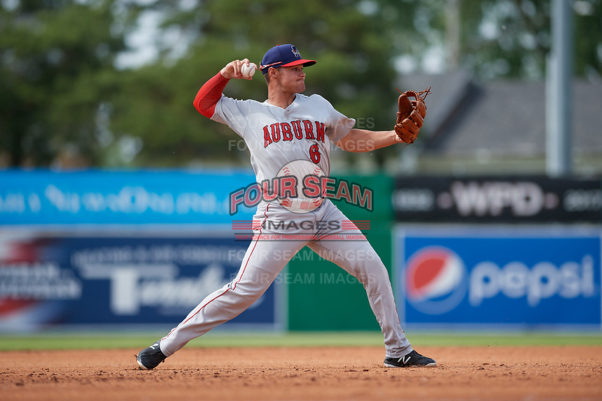 Auburn Doubledays third baseman Colton Pogue (6) throws to first base during a NY-Penn League game against the Batavia Muckdogs on June 19, 2019 at Dwyer Stadium in Batavia, New York.  Batavia defeated Auburn 5-4 in eleven innings in the completion of a game originally started on June 15th that was postponed due to inclement weather.  (Mike Janes/Four Seam Images)