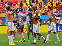 BRASILIA - BRASIL -19-06-2014. Jugadores de Colombia (COL) celebran la victoria sobre Costa de Marfil (CIV) en partido del Grupo C de la Copa Mundial de la FIFA Brasil 2014 jugado en el estadio Mané Garricha de Brasilia./ Players of Colombia (COL) celebrate the victory over Ivory Coast (CIV) in the macth of the Group C of the 2014 FIFA World Cup Brazil played at Mane Garricha stadium in Brasilia. Photo: VizzorImage / Alfredo Gutiérrez / Contribuidor