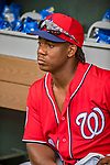 24 February 2019: Washington Nationals outfielder Chuck Taylor in the dugout prior to a Spring Training game against the St. Louis Cardinals at Roger Dean Stadium in Jupiter, Florida. The Nationals defeated the Cardinals 12-2 in Grapefruit League play. Mandatory Credit: Ed Wolfstein Photo *** RAW (NEF) Image File Available ***
