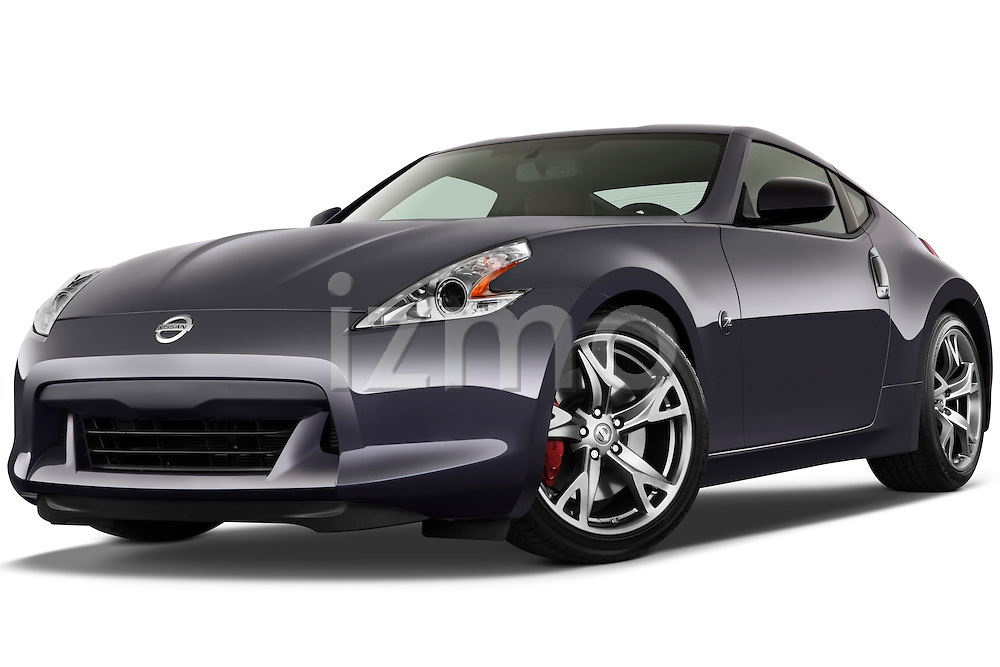 Low aggressive front three quarter view of a 2010 Nissan 370z 40th Coupe.