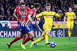 Atletico de Madrid Jose Maria Gimenez and Saul Niguez and Borussia Dortmund Christian Pulisic during group stage of UEFA Champions League match between Atletico de Madrid and Borussia Dortmund at Wanda Metropolitano in Madrid, Spain.November 06, 2018. (ALTERPHOTOS/Borja B.Hojas)