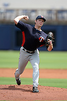 Minnesota Twins pitcher Kohl Stewart (45) during an Instructional League game against the Tampa Bay Rays on September 16, 2014 at Charlotte Sports Park in Port Charlotte, Florida.  (Mike Janes/Four Seam Images)
