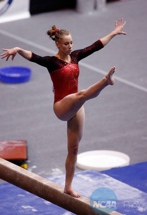 21 APR 2006:   Janet Anson (155) of Iowa State University competes in the balance beam during the Division I  Women's Gymnastics Super Six Championship held at Gill Coliseum on the Oregon State University campus in Corvallis, OR.  Anson tied for 17th place with a 9.800 score.  Jamie Schwaberow/NCAA Photos