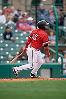 Rochester Red Wings Tomas Telis (18) hits a home run during an International League game against the Charlotte Knights on June 16, 2019 at Frontier Field in Rochester, New York.  Rochester defeated Charlotte 11-5 in the first game of a doubleheader that was a continuation of a game postponed the day prior due to inclement weather.  (Mike Janes/Four Seam Images)