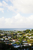 FRENCH POLYNESIA, Tahiti. A view of a town on the island of Tahiti.