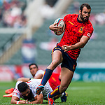 Spain vs Tonga during their HSBC Sevens Wold Series Qualifier match as part of the Cathay Pacific / HSBC Hong Kong Sevens at the Hong Kong Stadium on 27 March 2015 in Hong Kong, China. Photo by Xaume Olleros / Power Sport Images