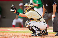 Wake Forest Demon Deacons catcher Matt Martin #4 sets a target during the game against the North Carolina State Wolfpack at Doak Field at Dail Park on March 17, 2012 in Raleigh, North Carolina.  The Wolfpack defeated the Demon Deacons 6-2.  (Brian Westerholt/Four Seam Images)