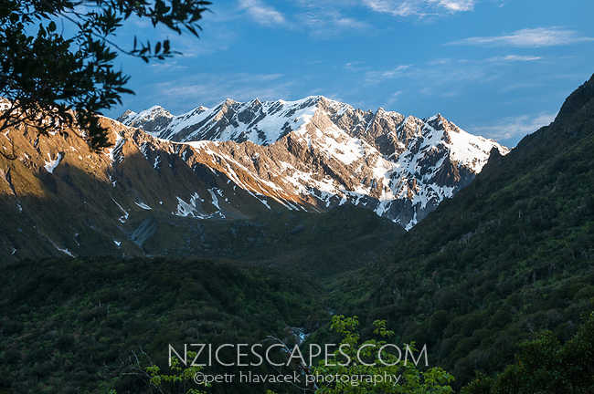 Sunset on Southern Alps from near Douglas Hut in Copland Valley, Westland Tai Poutini National Park, UNESCO World Heritage Area, West Coast, New Zealand, NZ