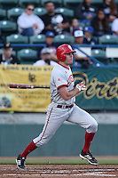 Tim O'Conner #36 of the Indiana Hoosiers bats against the Long Beach State Dirtbags at Blair Field on March 14, 2014 in Long Beach, California. Long Beach State defeated Indiana 4-3. (Larry Goren/Four Seam Images)