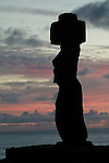 A moai with a topknot at sunset -  Ahu Tahai, Easter Island