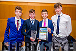 Overall Winner Brendan Coppinger, Killarney at the Lee Strand Kerry Garda Youth Achievement Awards 2016 in Ballyroe Hotel on Friday. Pictured Tom Geaney, Brendan Coppinger, Jack Galvin and Rob Lee