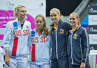 Moskou, Russia, Februari 4, 2016,  Fed Cup Russia-Netherlands,  Draw Ceremony, doubles: Maria Sharapova/Darya Kastkina (RUS) (L) vs Arantxa Rus/Cindy Burger (NED)<br /> Photo: Tennisimages/Henk Koster