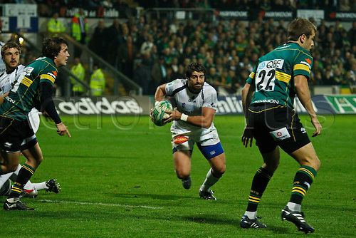08.10.2010 Sebastien Tillous-Borde sees a gap in the Northampton defence.  08.10.2010 Rugby Union Heineken Cup from Franklin's Gardens Northampton Saints v Castres.  Final score : Northampton 18-14 Castres