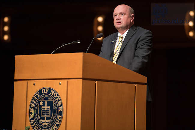 """October 4, 2017; Scott Appleby, professor of history and the Marilyn Keough Dean of the Keough School of Global Affairs, welcomes attendees and introduces Fr. Jenkins during a keynote Notre Dame Forum: """"Views from the West Wing: How Global Trends Shape U.S. Foreign Policy"""" in the Leighton Concert Hall of  DeBartolo Performing Arts Center. (Photo by Barbara Johnston/University of Notre Dame)"""