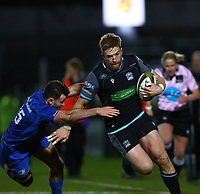 28th February 2020; RDS Arena, Dublin, Leinster, Ireland; Guinness Pro 14 Rugby, Leinster versus Glasgow; Kyle Steyn (Glasgow Warriors) hands off a tackle from Hugo Keenan (Leinster) to go in and score a try