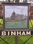 A4TRA2 Binham priory village sign Norfolk England