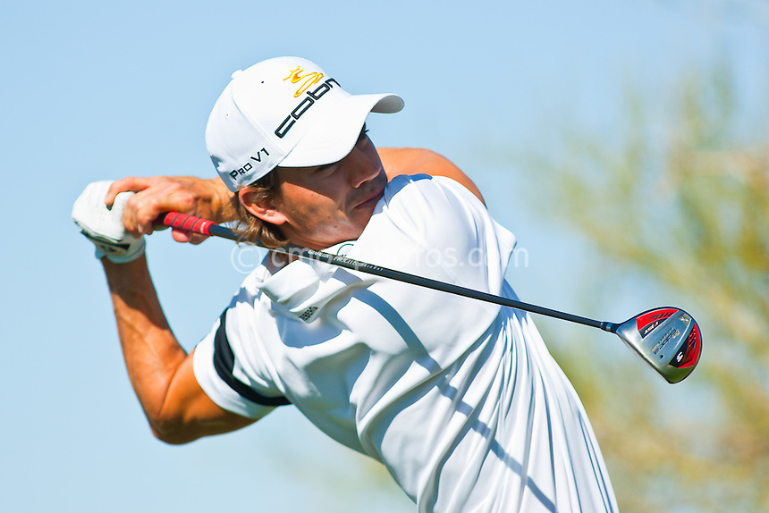 Feb 24, 2009; Marana, AZ, USA; Camilo Villegas (COL) hits his tee shot on the 9th hole during a Tuesday practice round prior to the World Golf Championships-Accenture Match Play Championship at the Ritz-Carlton Golf Club, Dove Mountain.