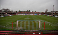 General view of the pitch as the match is postponed at 1.30pm due to a waterlogged pitch during the Sky Bet League 2 match between Accrington Stanley and Wycombe Wanderers at the Fraser Eagle Stadium, Accrington, England on 12 December 2015. Photo by Andy Rowland / PRiME Media Images