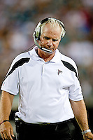 August 19, 2011:  Atlanta Falcons head coach Mike Smith paces on the sidelines during pre season action between the Jacksonville Jaguars and the Atlanta Falcons at EverBank Field in Jacksonville, Florida.   Jacksonville defeated the Falcons 15-13.........