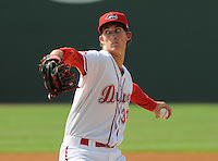 Pitcher Henry Owens (32) of the Greenville Drive in a game against the Rome Braves on July 6, 2012, at Fluor Field at the West End in Greenville, South Carolina. Owens was a supplemental round pick by the Boston Red Sox in the 2011 First-Year Player Draft.  Greenville won, 4-0. (Tom Priddy/Four Seam Images)