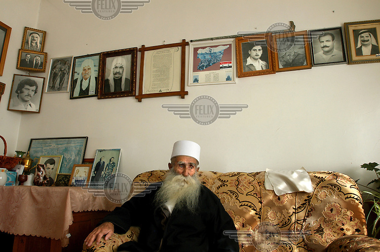Sheikh Abu Adnan at his home, in the Druze village of Majdal Shams in the Golan Heights.