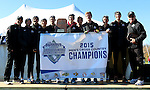 BROOKINGS, SD - OCTOBER 31: IUPUI celebrates the 2015 Summit League Cross Country Championship at Edgebrook Golf Course in Brookings. (Photo by Dave Eggen/Inertia)
