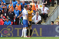 James Norwood of Tranmere Rovers approaches Newport's Mark O'Brien after his over zealous challenge during Newport County vs Tranmere Rovers, Sky Bet EFL League 2 Play-Off Final Football at Wembley Stadium on 25th May 2019