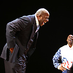 "Earvin 'Magic' Johnson & Kevin Daniels.during the Broadway Opening Night Performance Curtain Call for ""Magic / Bird"" at the Longacre Theatre in New York City on April 11, 2012"