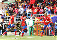 IPIALES - COLOMBIA, 28-04-2019: Mariano Vasquez (Izq) del Pasto celebra con Jose Ortiz y Ray Vanegas después de anotar el primer gol de su equipo partido por la fecha 18 de la Liga Águila I 2019 entre Deportivo Pasto y Patriotas Boyacá jugado en el estadio Estadio Municipal de Ipiales. / Mariano Vasquez (L) of Pasto celebrates with Jose Ortiz and Ray Vanegasafter scoring the first goal of his team during match for the date 18 as part of Aguila League I 2019 between Deportivo Pasto and Patriotas Boyaca played at Municipal stadium of Ipiales.  Photo: VizzorImage / Leonardo Castro / Cont