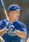 22 June 2013: San Diego Padres catcher Nick Hundley awaits his turn in the batting cage prior to a game against the Los Angeles Dodgers at Petco Park in San Diego, California. The Dodgers defeated the Padres 6-1 in the third game of their 4-game Divisional Series. Mandatory Credit: Ed Wolfstein Photo *** RAW (NEF) Image File Available ***