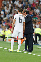 Real Madrid´s coach Benitez talk to Nacho during Santiago Bernabeu Trophy match at Santiago Bernabeu stadium in Madrid, Spain. August 18, 2015. (ALTERPHOTOS/Victor Blanco)