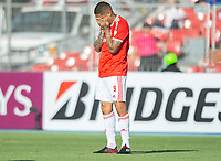 4th February 2020; National Stadium of Chile, Santiago, Chile; Libertadores Cup, Universidade de Chile versus Internacional; Paolo Guerrero of Internacional misses a gooa scoring opportunity
