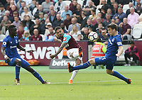West Ham United's Manuel Lanzini scores his side's third goal <br /> <br /> Photographer Rob Newell/CameraSport<br /> <br /> The Premier League - West Ham United v Everton - Sunday 13th May 2018 - London Stadium - London<br /> <br /> World Copyright &copy; 2018 CameraSport. All rights reserved. 43 Linden Ave. Countesthorpe. Leicester. England. LE8 5PG - Tel: +44 (0) 116 277 4147 - admin@camerasport.com - www.camerasport.com