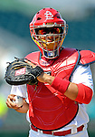 28 February 2007: St. Louis Cardinals catcher Yadier Molina warms up prior to facing the Florida Marlins on Opening Day for Spring Training at Roger Dean Stadium in Jupiter, Florida.<br /> <br /> Mandatory Photo Credit: Ed Wolfstein Photo